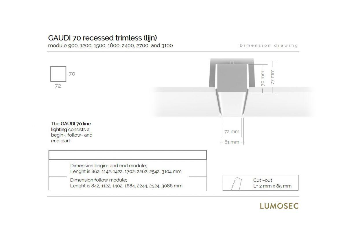 gaudi 70 line lighting end recessed trimless 2400mm 3000k 8610lm 70w dali