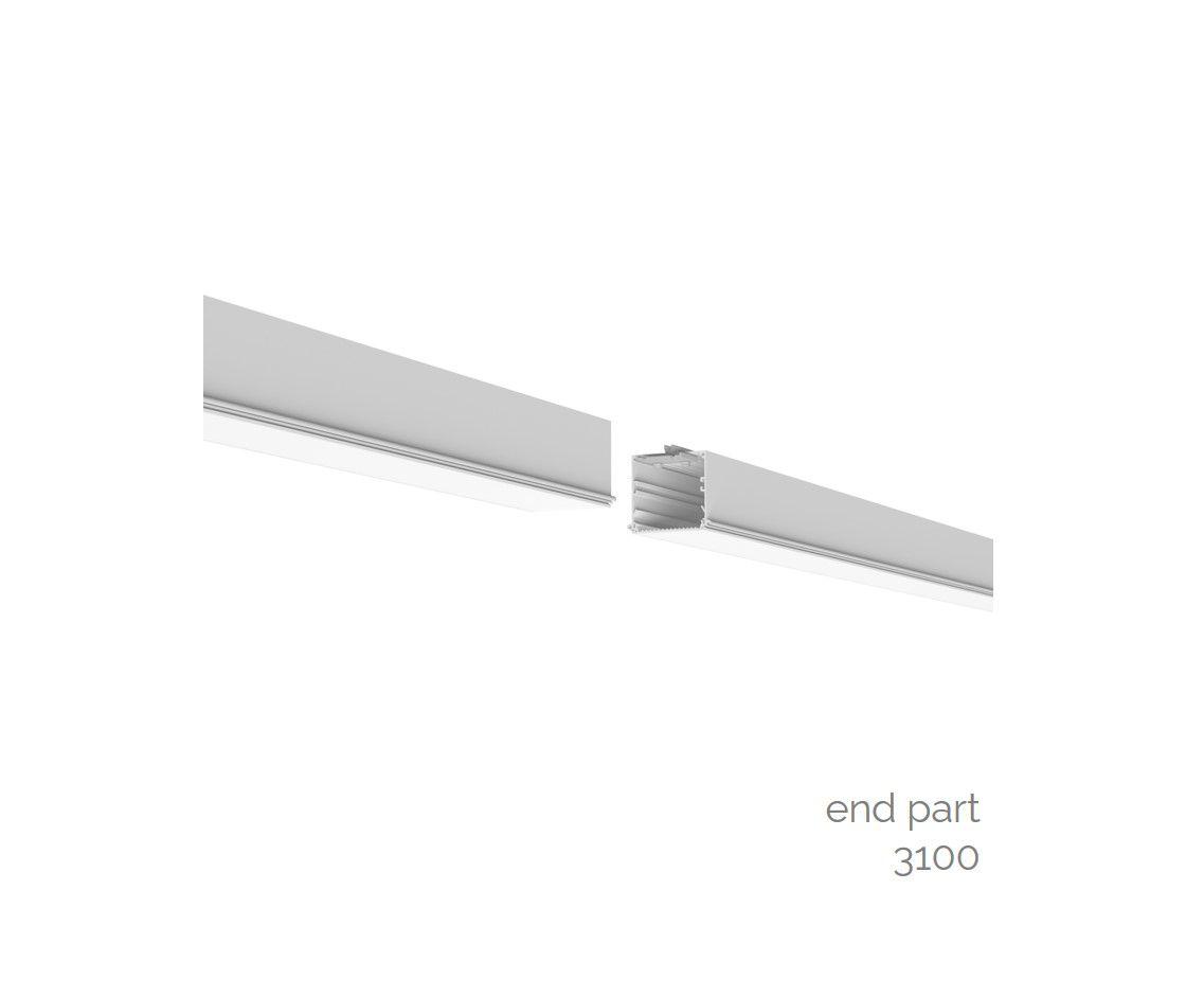 gaudi 70 line lighting end recessed trimless 3100mm 4000k 12595lm 105w fix