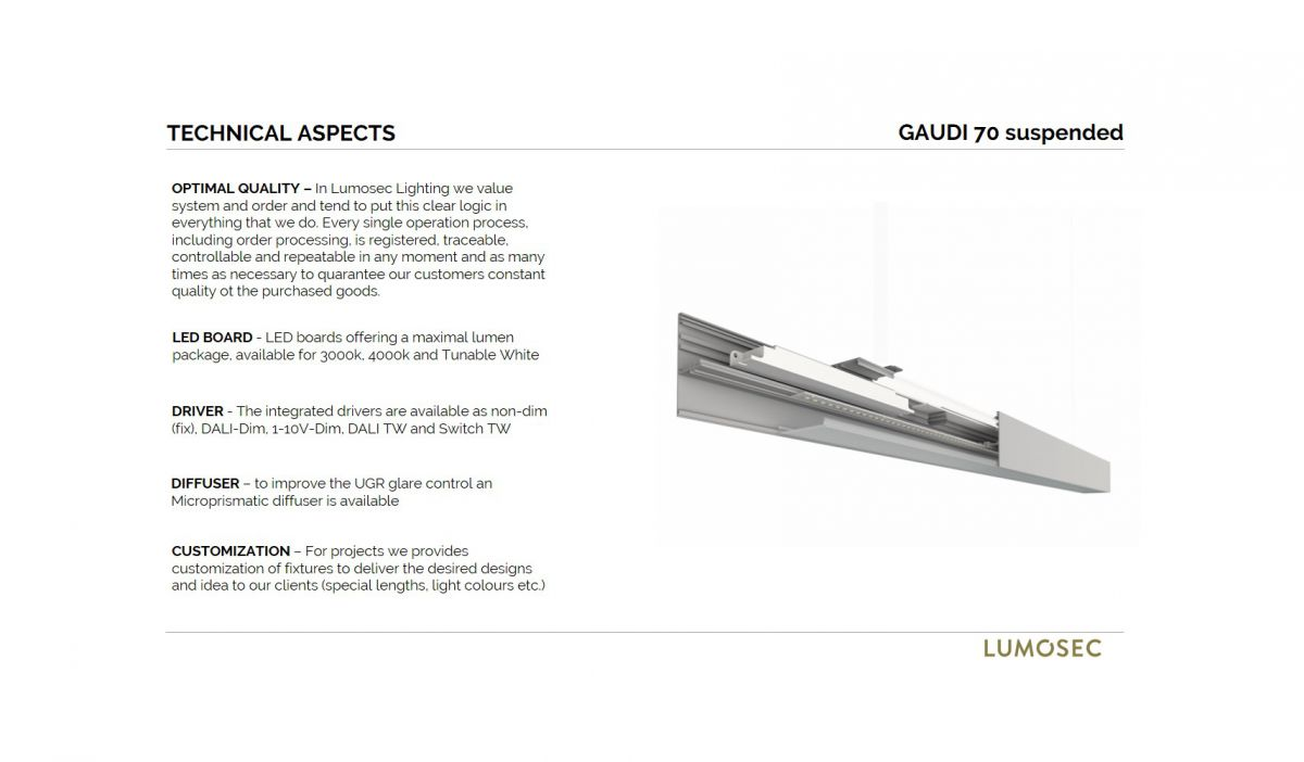 gaudi 70 line lighting end suspended 1500mm 3000k 5382lm 40w fix