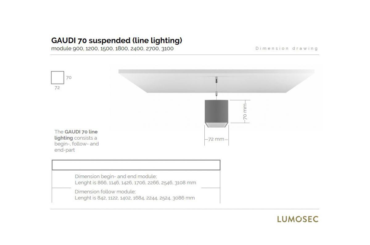 gaudi 70 line lighting end suspended 3100mm 3000k 13053lm 95w dali