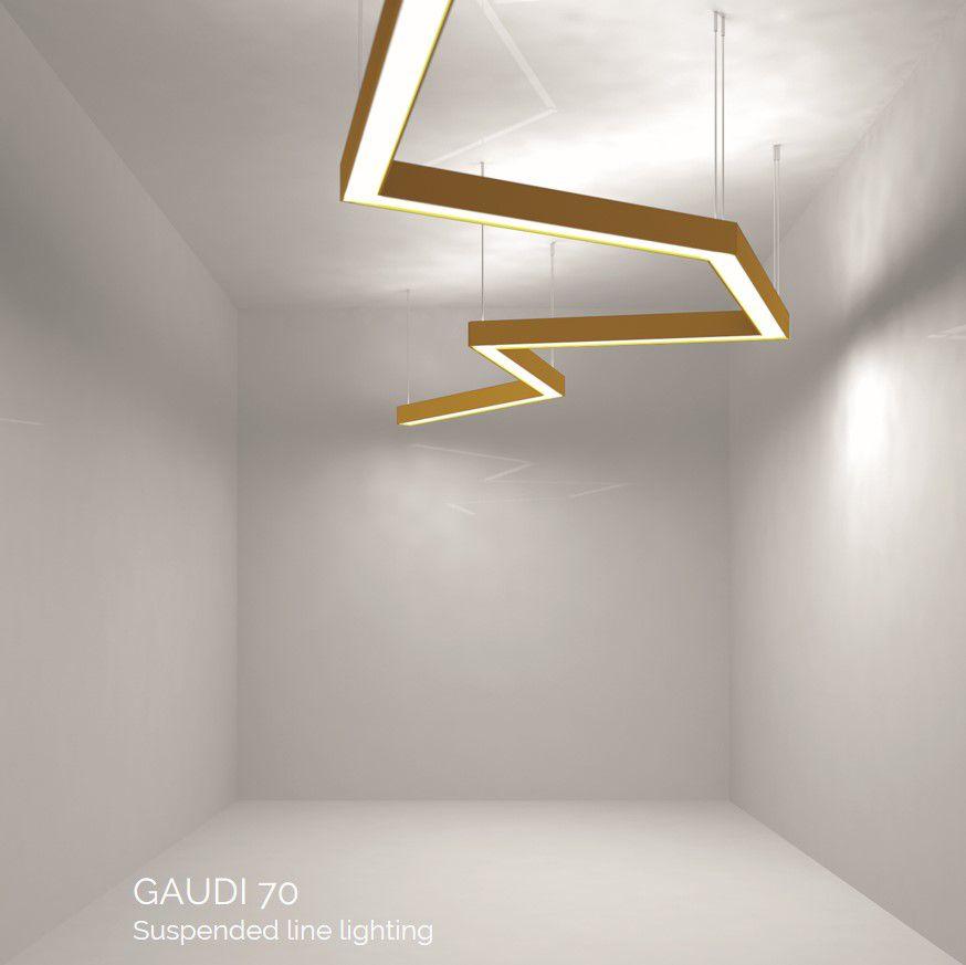 gaudi 70 line luminaire directindirect single suspended 1200mm 4000k 7380lm 3520w dali