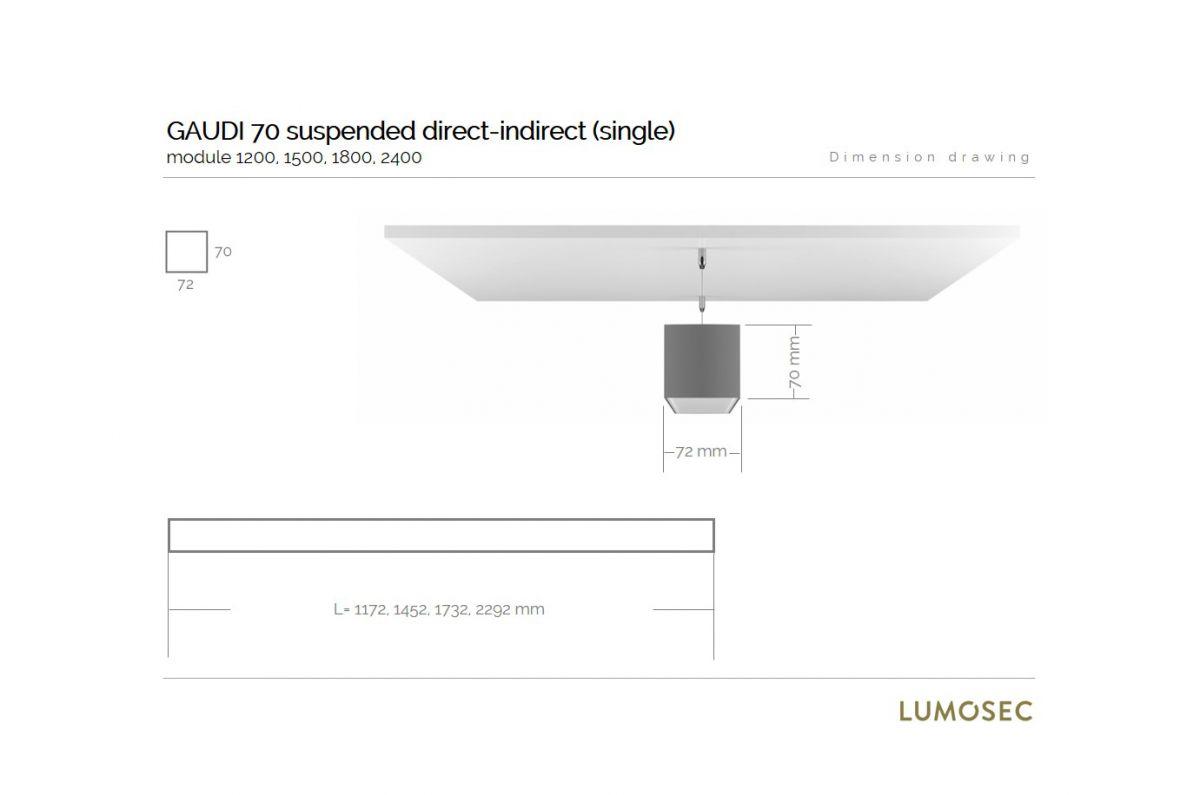 gaudi 70 line luminaire directindirect single suspended 1800mm 4000k 12300lm 5035w fix