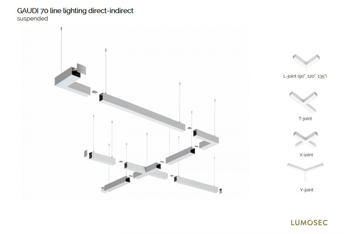 gaudi 70 line luminaire directindirect single suspended 2400mm 4000k 14760lm 7040w dali