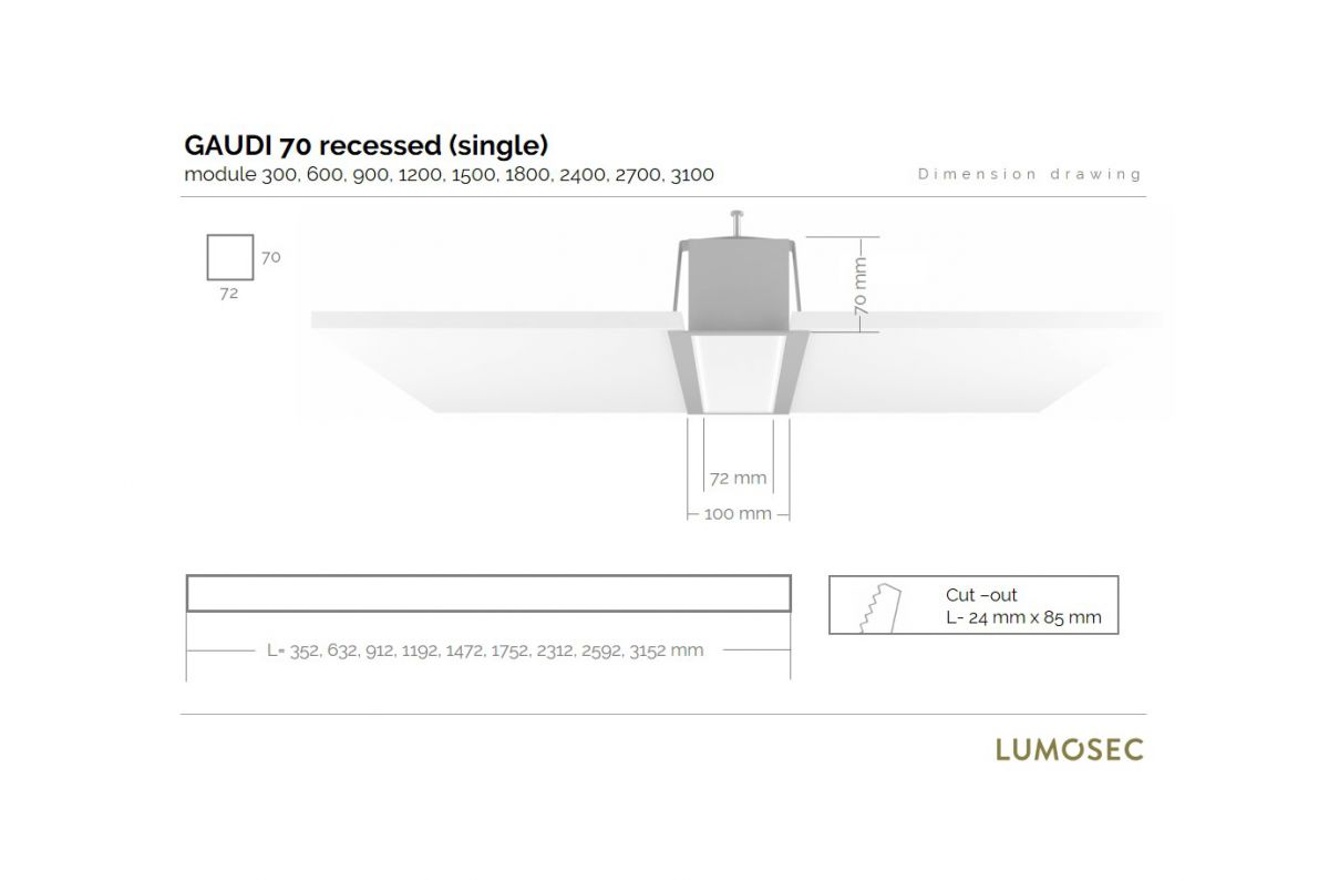 gaudi 70 line luminaire single recessed 300mm 4000k 1145lm 10w fix