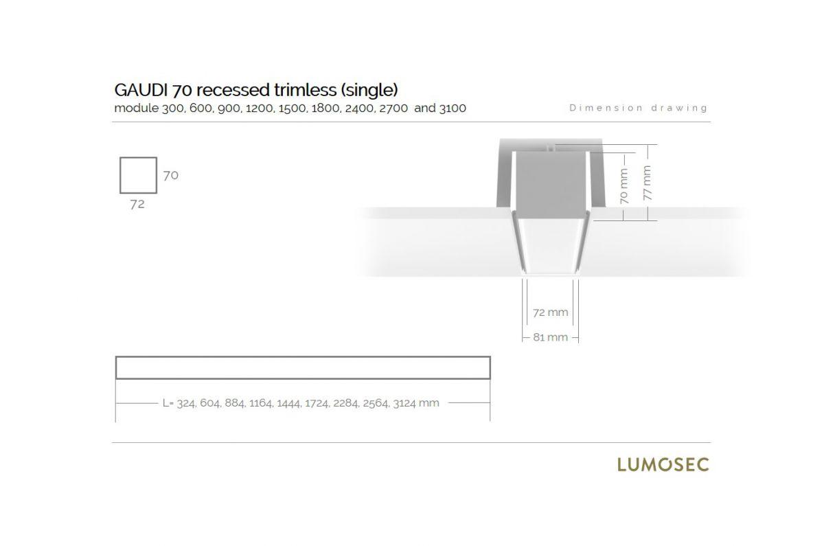 gaudi 70 line luminaire single recessed trimless 600mm 3000k 2152lm 20w dali
