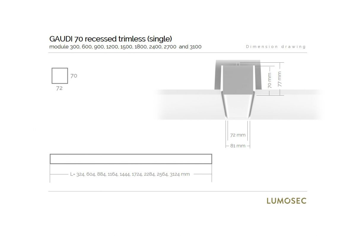 gaudi 70 line luminaire single recessed trimless 900mm 4000k 3435lm 25w fix