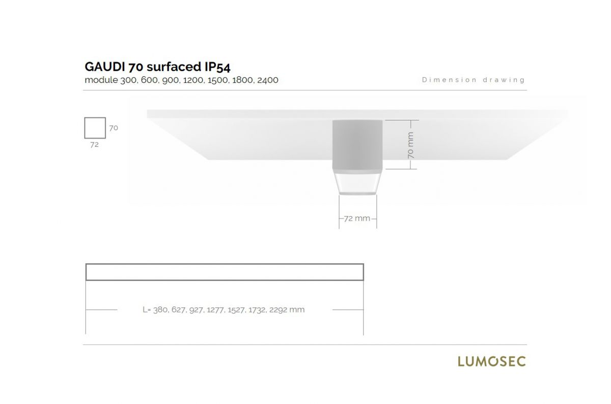 gaudi 70 line luminaire single surfaced ip54 1200mm 3000k 4305lm 35w dali