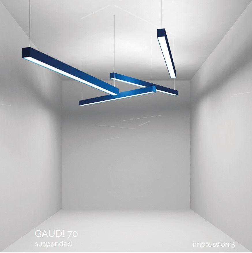 gaudi 70 line luminaire single suspended 1200mm 3000k 4305lm 35w dali
