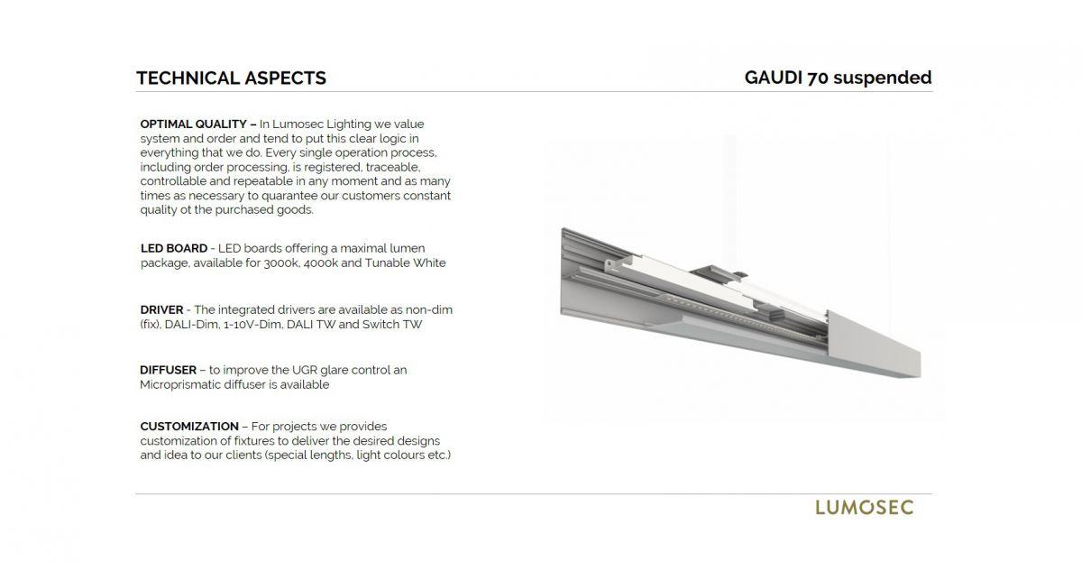 gaudi 70 line luminaire single suspended 1500mm 3000k 5382lm 40w dali