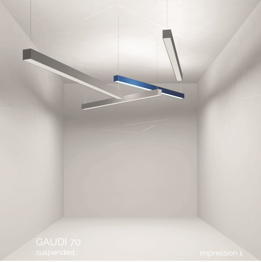 gaudi 70 line luminaire single suspended 2400mm 3000k 8610lm 70w fix