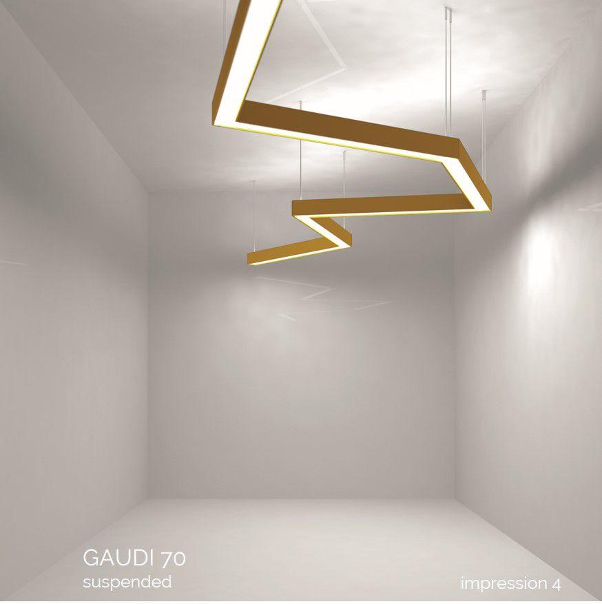 gaudi 70 line luminaire single suspended 2400mm 3000k 8610lm 70w dali