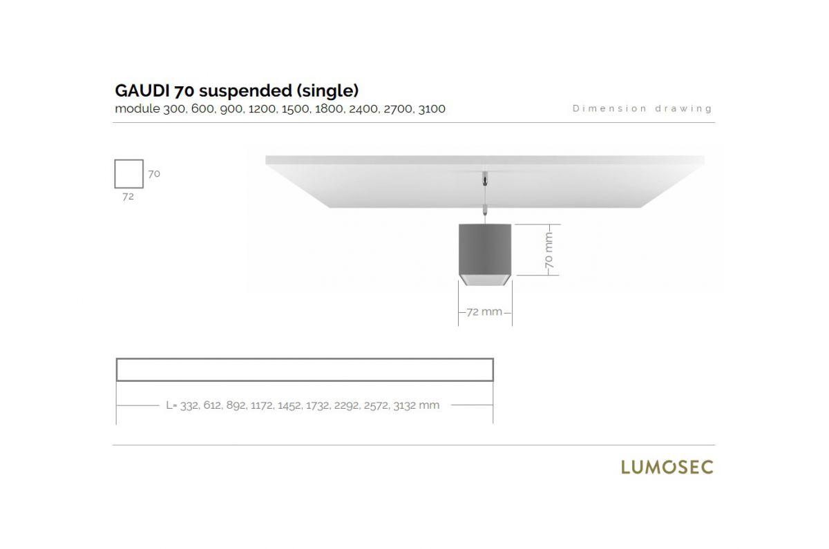 gaudi 70 line luminaire single suspended 300mm 3000k 1077lm 10w fix