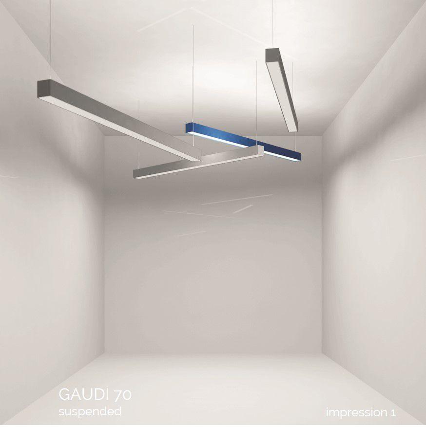 gaudi 70 line luminaire single suspended 300mm 3000k 1077lm 10w dali