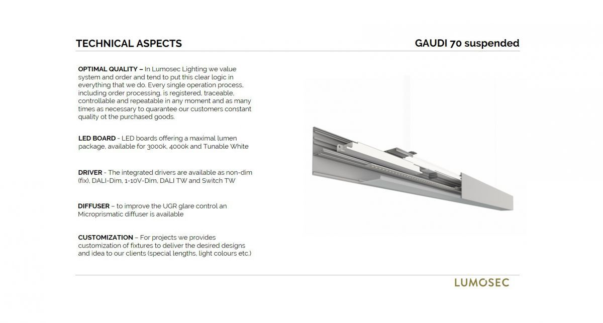 gaudi 70 line luminaire single suspended 900mm 4000k 3435lm 25w dali