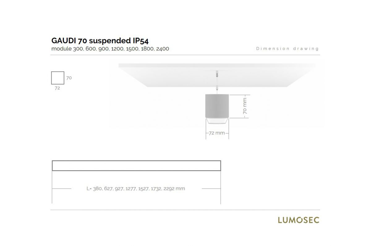 gaudi 70 line luminaire single suspended ip54 300mm 4000k 1145lm 10w fix