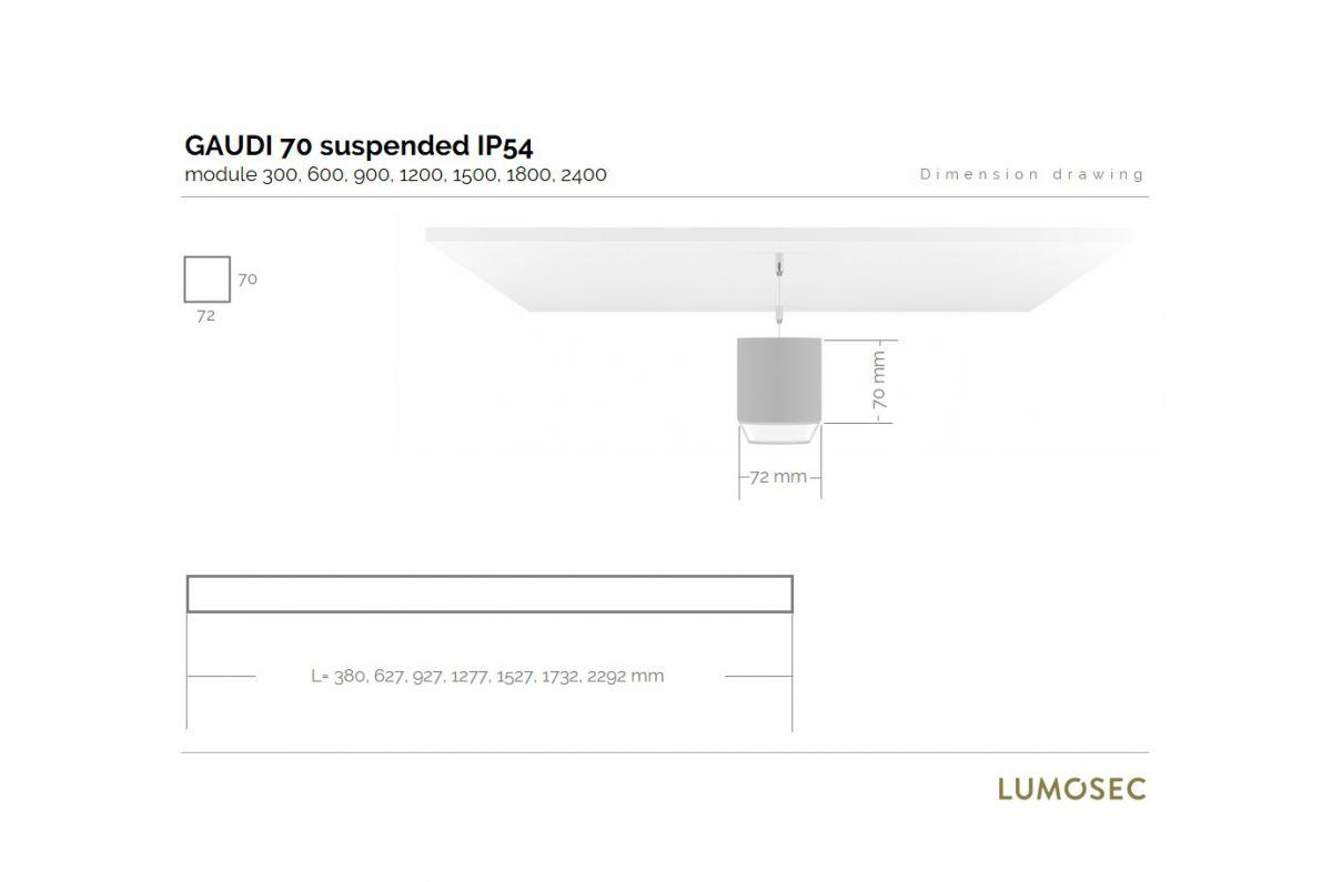 gaudi 70 line luminaire single suspended ip54 600mm 3000k 2152lm 20w fix