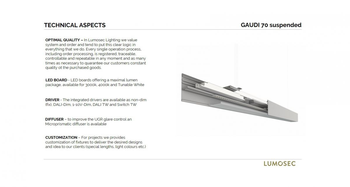 gaudi 70 line luminaire single suspended ip54 600mm 3000k 2152lm 20w dali